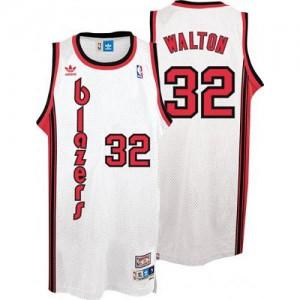 Camisetas Baloncesto Hombre NBA Portland Trail Blazers Throwback Authentic Bill Walton #32 Blanco