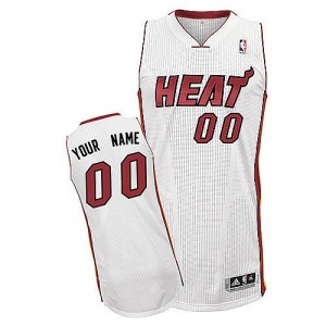 Camiseta Authentic Personalizadas Miami Heat Home Blanco - Adolescentes