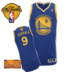 Camisetas Baloncesto Hombre NBA Golden State Warriors Road Autographed 2015 The Finals Patch Authentic Andre Iguodala #9 Azul real