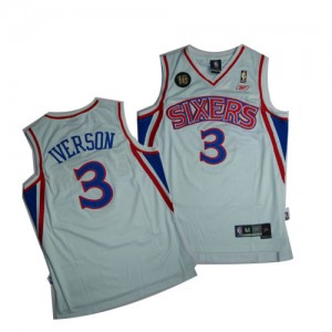 Camisetas Baloncesto Hombre NBA Philadelphia 76ers 10TH Throwback Swingman Allen Iverson #3 Blanco