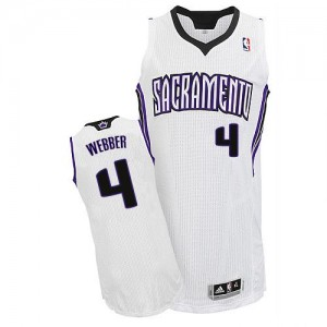 Hombre Camiseta Chris Webber #4 Sacramento Kings Adidas Home Blanco Authentic