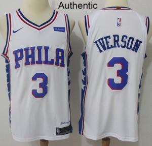 Camiseta Allen Iverson #3 Philadelphia 76ers Blanco Authentic Association Edition