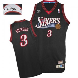 Camiseta NBA 1997-2009 Throwback Autographed Philadelphia 76ers Negro Authentic - Hombre - #3 Allen Iverson