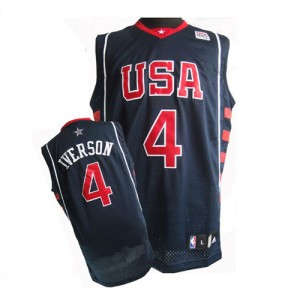 Hombre Camiseta Allen Iverson #4 Team USA Nike Summer Olympics Azul marino Authentic