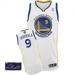 Camisetas Baloncesto Hombre NBA Golden State Warriors Home Autographed Authentic Andre Iguodala #9 Blanco