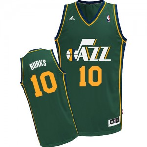 Camiseta NBA Utah Jazz Alec Burks #10 Alternate Adidas Verde Swingman - Hombre