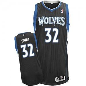 Minnesota Timberwolves Adidas Alternate Negro Authentic Camiseta de la NBA - Karl-Anthony Towns #32 - Hombre