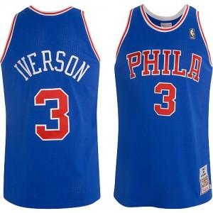 Camiseta NBA Throwback Philadelphia 76ers Azul Authentic - Hombre - #3 Allen Iverson