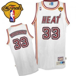 Hombre Camiseta Alonzo Mourning #33 Miami Heat Adidas Throwback Finals Patch Blanco Swingman
