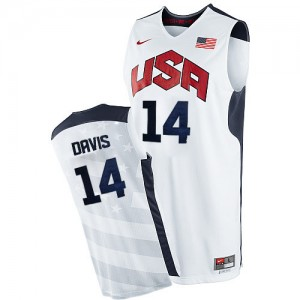 Hombre Camiseta Anthony Davis #14 Team USA Nike 2012 Olympics Blanco Authentic