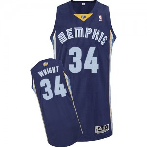 Camiseta Authentic Brandan Wright #34 Memphis Grizzlies Road Azul marino - Hombre