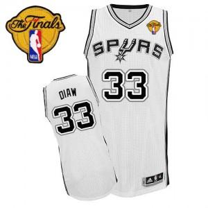 San Antonio Spurs Adidas Home Finals Patch Blanco Authentic Camiseta de la NBA - Boris Diaw #33 - Hombre