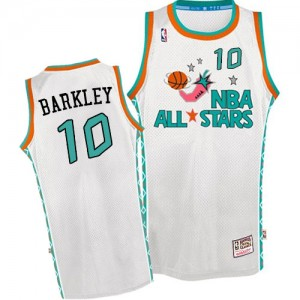 Camiseta NBA Phoenix Suns Charles Barkley #10 Throwback 1996 All Star Mitchell and Ness Blanco Authentic - Hombre