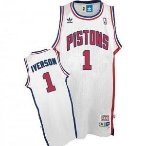 Hombre Camiseta Allen Iverson #1 Detroit Pistons Adidas Throwback Blanco Swingman