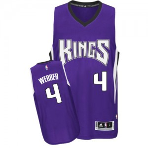 Hombre Camiseta Chris Webber #4 Sacramento Kings Adidas Road Púrpura Authentic