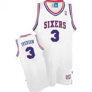 Camiseta NBA Throwack Philadelphia 76ers Blanco Authentic - Hombre - #3 Allen Iverson