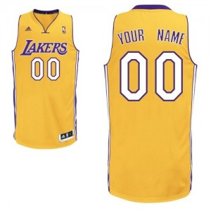 Camisetas Baloncesto Hombre NBA Los Angeles Lakers Home Swingman Personalizadas Oro