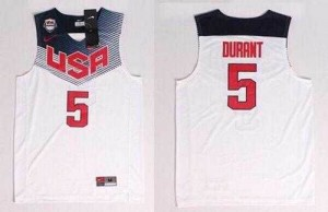 Camiseta Kevin Durant #5 Stitched Blanco oscuro - 2014 Team USA