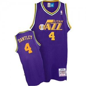 Camiseta NBA Utah Jazz Adrian Dantley #4 Throwback Adidas Púrpura Authentic - Hombre