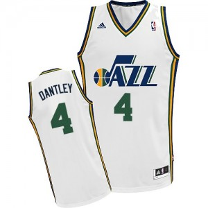 Camiseta NBA Utah Jazz Adrian Dantley #4 Home Adidas Blanco Swingman - Hombre